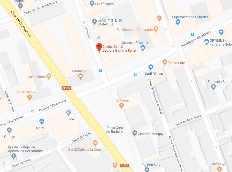 Mapa Clínica Dental Gemma Farré, Avinguda Barberà 381, 2n 3a. Sabadell.