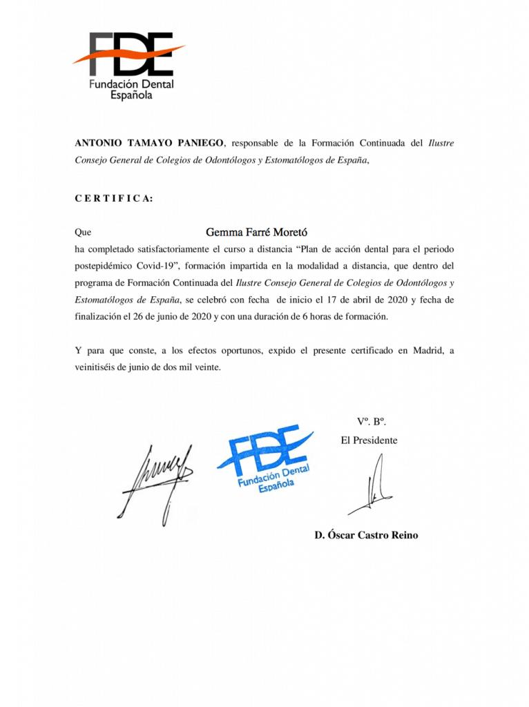Certificado prevención Covid-19 Gemma Farré